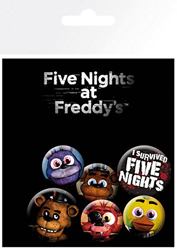Five Nights at Freddys - 6 Piece Button / Pin / Badge Set (Characters, Logos & Icons)