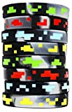 Pixel Style Miner Video Game Silicone Wristbands - 8 Pack Party Favor Set - 2 of each design!