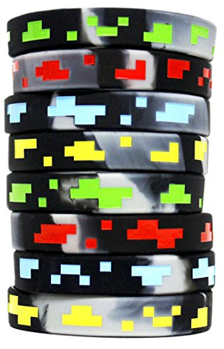 Price comparison product image Pixel Style Miner Video Game Silicone Wristbands - 8 Pack Party Favor Set - 2 of each design!