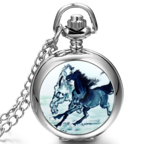 JewelryWe Christmas Gift for Boys Dangle Pocket Watch Necklace Quartz Movement Horse Pattern White Dial Arabic Numerals (with Gift ()