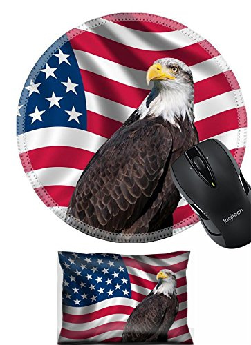 Liili Mouse Wrist Rest and Round Mousepad Set, 2pc Wrist Support IMAGE ID: 19193645 Patriotic symbol showing the American flag with a bald eagle ()