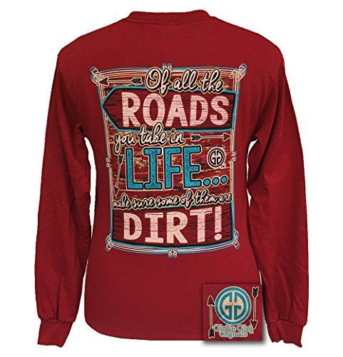 s Dirt Roads Long Sleeve T-Shirt Cardinal Red, Medium ()