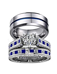 Gy Jewelry 3pc His and Hers Wedding Ring Sets Couples Rings Women's White Gold Plated Blue Sapphire Cubic Zirconia Wedding Engagement Ring Bridal Sets & Men's Stainless Steel Wedding Band