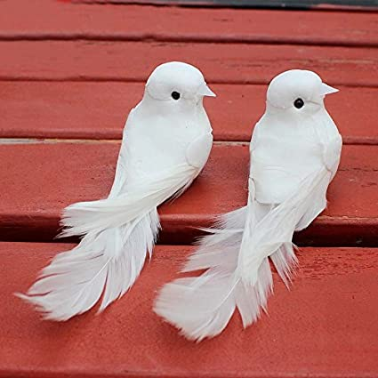 4, White lwingflyer Artificial Simulation Foam Bird Satin Paper Painted Ornaments DIY Craft for Wedding Decoration Party Accessories 12cm