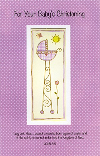 Baby Bassinet Polka Dots - Freedom Greetings Christening Card -