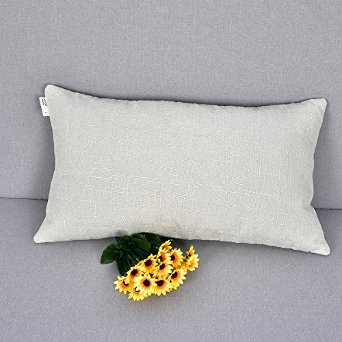NATUS WEAVER Decor Oblong Lined Linen Burlap Square Throw Cushion Pillowcase Cover for Sofa, 12