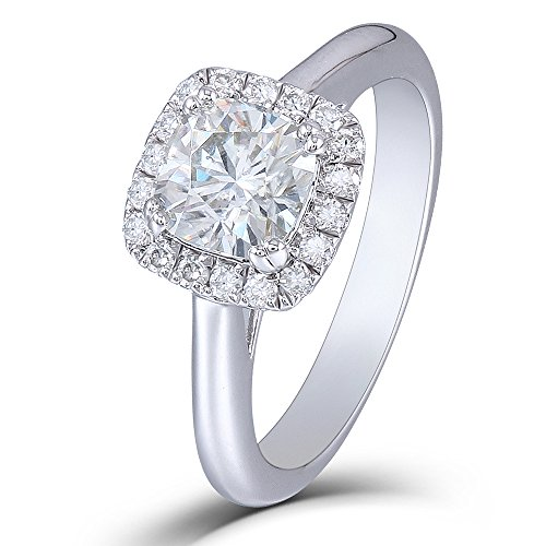 DOVEGGS 1.2CTW Diameter 6MM Cushion Cut H Color 2.6MM Width Moissanite Engagement Ring with Accents Platinum Plated Silver