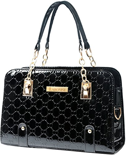 GPCT Women Top Handle Satchel Handbags (Faux Leather, Twin Handles) - Black