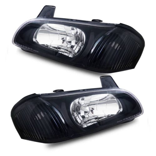 Crystal Maxima (SPPC Crystal Headlights Black Assembly for Nissan Maxima - (Pair) Includes Driver Left and Passenger Right Side Replacement Headlamp)