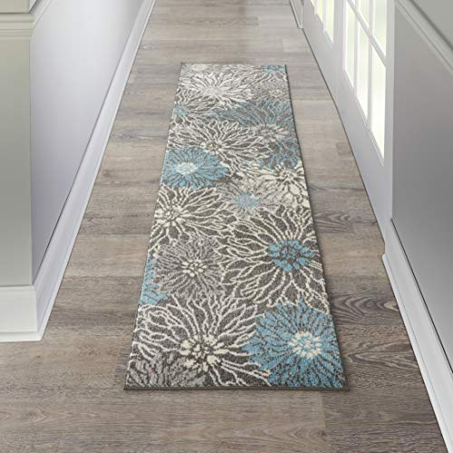 Nourison PSN17 Passion Floral Chic Charcoal/Blue Area Rug Runner (2' x 8'), 2'2