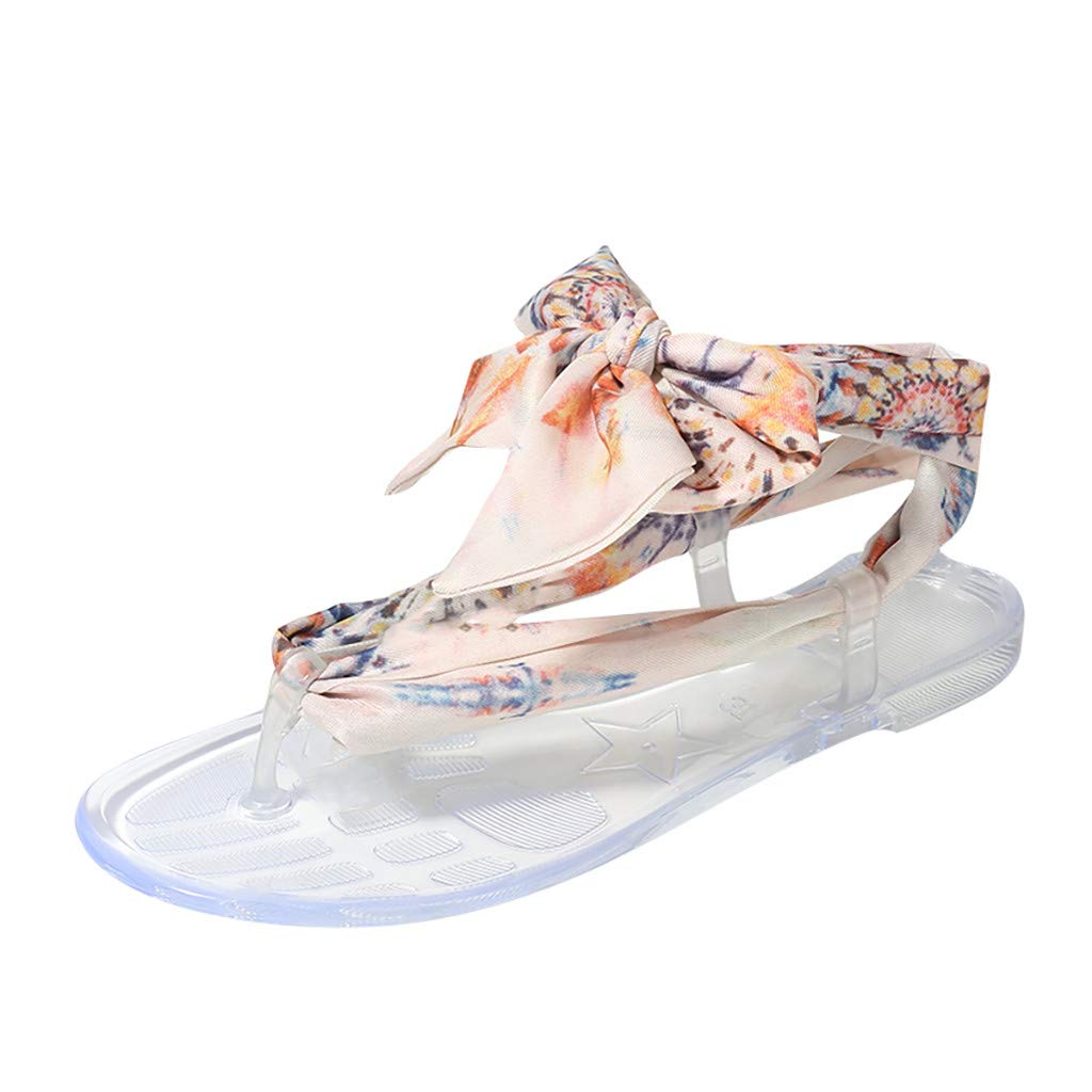 Randolly Women's Shoes Summer Silk Flat-Soled Round Toe Casual Sandals Butterfly-Knot Shoes Pink