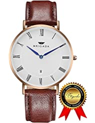 BRIGADA Swiss Watches for Men Women, Nice Minimalist Business Casual Waterproof Watch for Men Women, Great Gift...