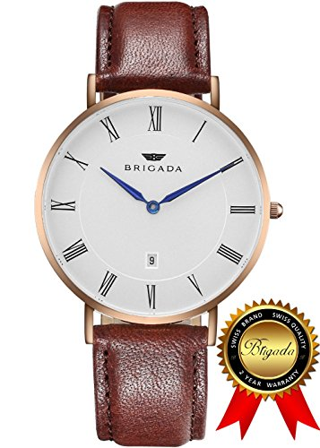BRIGADA Swiss Watches for Men Women, Nice Minimalist Business Casual Waterproof Watch for Men Women, Great Gift for Families, Lover, Friends or Yourself