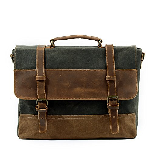 Canvas Waterproof Messenger Package Retro Handbag gray Bag Hmwhxw Briefcase Shoulder Business Grayishgreen O5qzWfSU