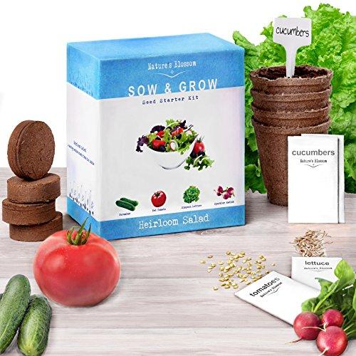 Heirloom salad seed starter kit grow 4 organic for Gardening gifts for men