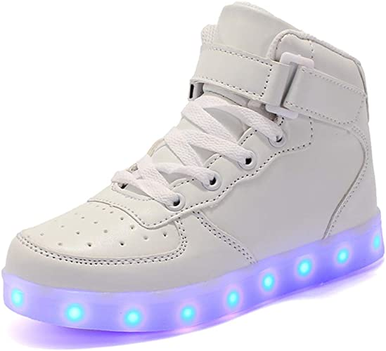 Kids Youth LED Light Up Sneakers Luminous Shoes Girls USB Charger Lace Up