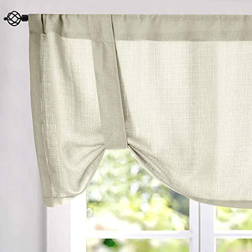 Semi Sheer Valance Kitchen Window 18 inches Long Rod Pocket Adjustable Tie up Shade Linen Textured Drape One Panel Beige