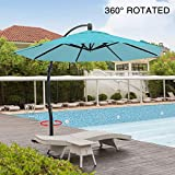 Mefo garden 11.5 Feet Offset Patio Umbrella, 360° Rotated Cantilever Umbrella with Tilt System for Outdoor Parties, Courtyard with Cross Base, Aluminum, 250gsm Round Canopy, Turquoise