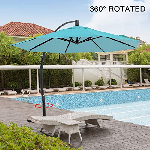 Aluminum Tilt Offset Umbrella - Mefo garden 11.5 Feet Offset Patio Umbrella, 360° Rotated Cantilever Umbrella with Tilt System for Outdoor Parties, Courtyard with Cross Base, Aluminum, 250gsm Round Canopy, Turquoise
