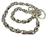925 Sterling Nicely Carved Skull Lock Biker Wallet Chain 54cm