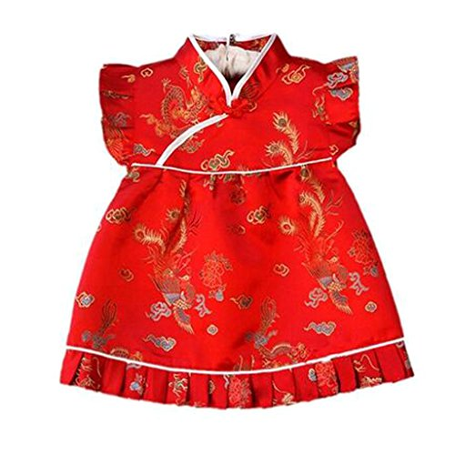 Buenos Ninos Girls Short Sleeve Cheongsam Baby Qipao Patterned Cloth Set Dragon S
