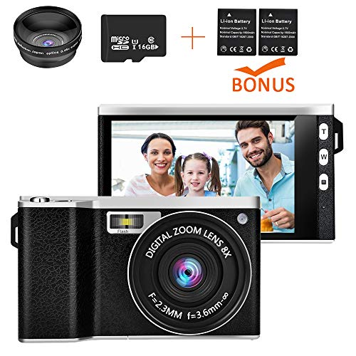 Digital Camera, iBosi Cheng Video Camera Vlog YouTube Video Recorder 24.0MP HD 1080D 12 Digital Zoom 4.0 inch IPS Screen Camera with Wide-Angle Lens 16GB, with SD Card and 2 Batteries