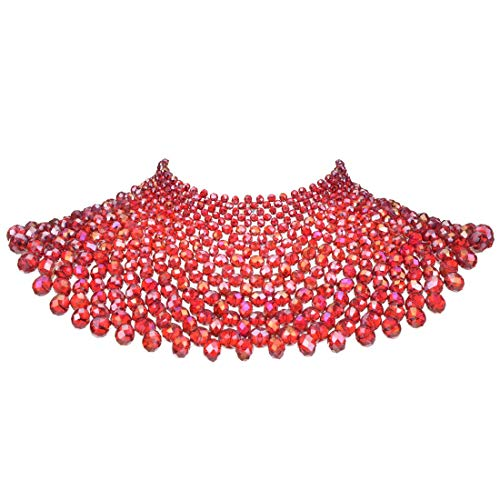 Bib Collar Necklace Chunky Crystal Resin Beads Chain Choker Statement Necklace Womens Fashion Jewelry Necklace (Red)