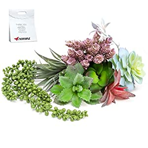 Artificial Succulents Unpotted Plants Big– 9PCS Fake Faux Realistic Flowers - Fake Plants for Succulent Planter wit Faux Succulents, String of Pearls, Cactus and Aloe Plant – Assorted Succulent Plants 56