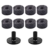 MagiDeal 8Pieces Drum Cymbal Pads Felts + 2Pieces Cymbal Stand Sleeve for Drummer Kit