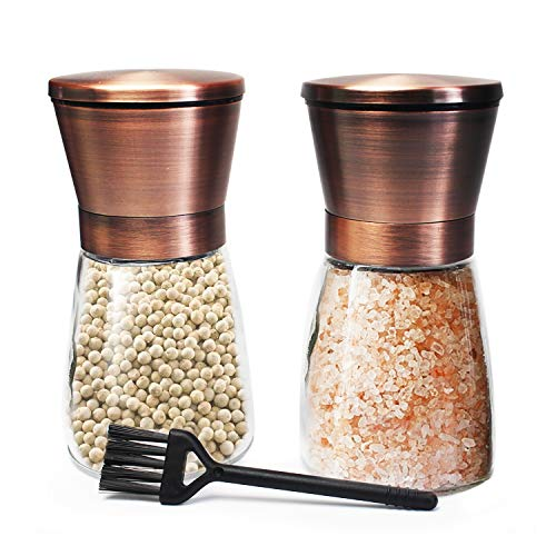 (Copper Salt and Pepper Grinder Set of 2 Stainless Steel Salt and Pepper Shakers with Adjustable Ceramic Coarseness Salt Grinders and Pepper Mill Shaker Spice Grinder Mill Set with Free Cleaning Brush)