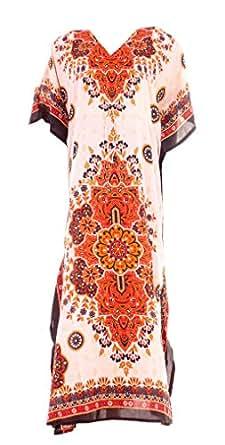 """Hastkala Women's Hippy Boho Maxi Long Kaftan Dress Beachwear Long Length Caftan 48"""" to 52"""" long Multi"""