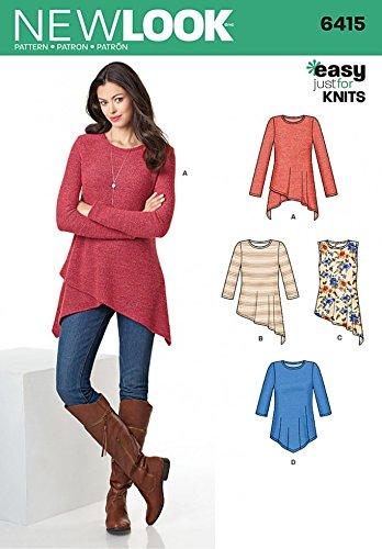 9df9d619b1c2 New Look Ladies Easy Sewing Pattern 6415 Jersey Knit Asymmetric Hemline Tops