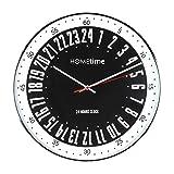 Grande 40cm chapado en cromo Cased negro Bold Classic 24horas esfera reloj de pared de cuarzo