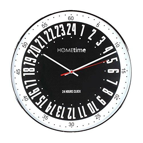 24 Hr Round The Clock (Large 40cm Chrome Plated Cased Black Bold Classic 24 hour Dial Quartz Wall Clock)