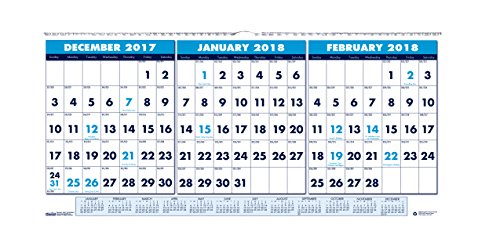 House of Doolittle 2018 Wall Calendar, Three-Month Horizontal, 23.5 x 12 Inches, December - January (HOD3648-18)