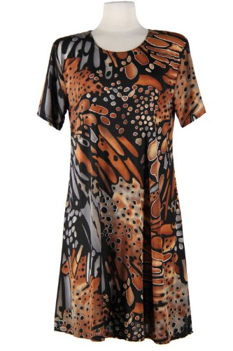Jostar Stretchy Missy Dress with Short Sleeve, Print in Abstract (Abstract Design Dress)
