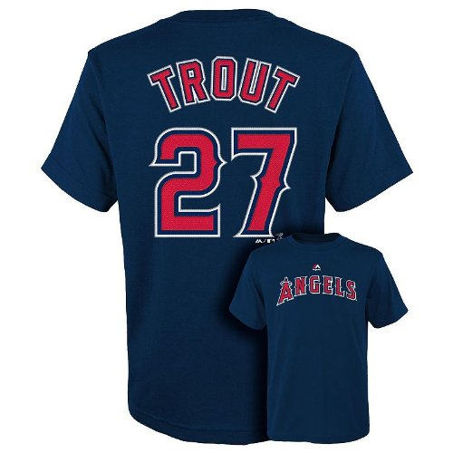 2f462617809 delicate Mike Trout Los Angeles Angels Navy Youth Name and Number Jersey  T-shirt