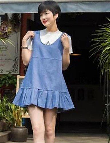 PU&PU Robe Aux femmes Trapèze / Denim Street Chic,Couleur Pleine Col en U Au dessus du genou Coton , blue-s , blue-s