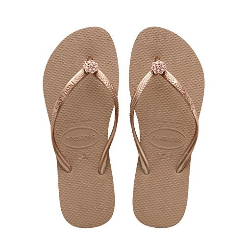 Havaianas Women Slim Crystal - Havaianas Women's Slim Crystal Poem Sandal, Rose Gold/Metallic Rose Gold,39/40 BR (9-10 M US)