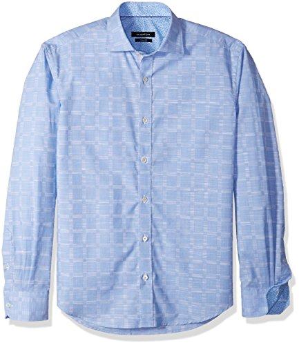 BUGATCHI Mens Drummond Long Sleeve Tonal Windowpane Button Down Shirt