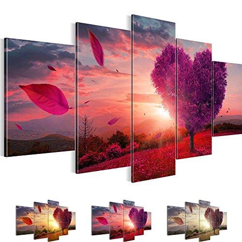 Bilder 200 x 100 cm Bild auf Vlies Leinwand, ' Herbst ', Wandbilder Kunst Kunstdruck Deko für Wohnzimmer, Schlafzimmer, Büro 5 Teilig 605851b