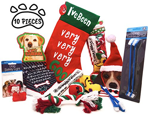 Dog Christmas Stocking Gift Set Bundle of 10 Pieces.1 Stocking with 4 Toys, Dog Christmas Bandana, Dog Santa Hat, 1 Large Red Hanging Stocking, Red Safety Light and Toothbrush set. (Dog Christmas Stocking)
