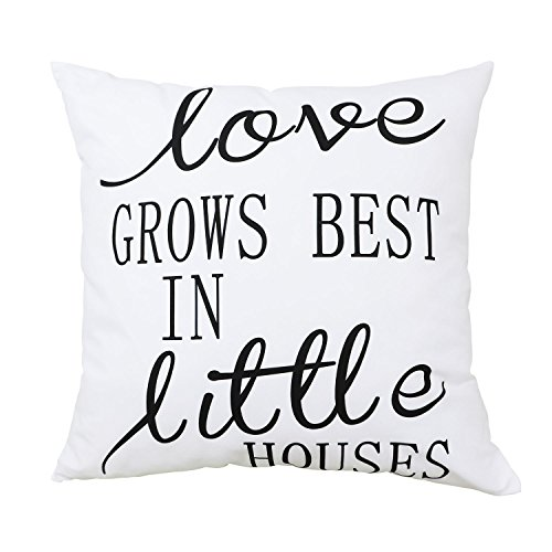 Pillow Covers for Decoration Love Grows Best in Little Houses Throw Pillow Case, Super Soft Comfortable Polyester Peach Home Decorative Cushion with Hidden Zipper, Standard Size 18