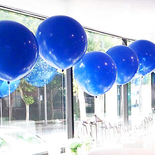 GuassLee Giant Round Balloons 36-inch Blue Balloons Large - 6 Pack Big Latex Balloons for Birthdays Wedding Photo Shoot and Festivals Christmas and Event Decorations -
