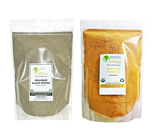 Indus Organics Turmeric (Curcumin) & Black Pepper Powder, Refill, 1 Lb, Combo Pack, Premium Grade, High Purity, Freshly Packed