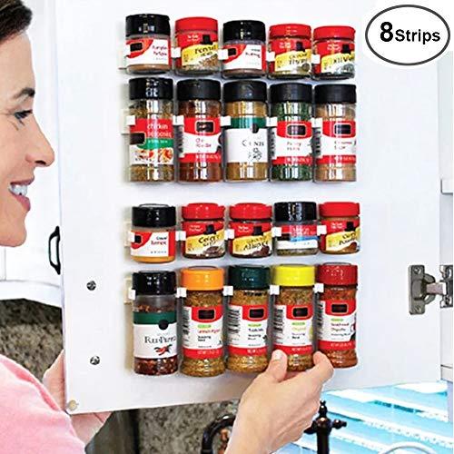 8 Strips Universal Spice Strips Gripper Clips, Cabinet Spice Jar Holders, Kitchen Bottle Jars Store Rack-Holds 40 Jars