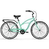 "sixthreezero Around The Block Women's 3-Speed Beach Cruiser Bicycle, 26"" Wheels, Mint Green with Black Seat and Grips"