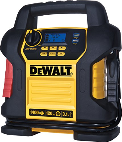DEWALT DXAEJ14 Power Station Jump Starter: 1400 Peak/700 Instant Amps, 120 PSI Digital Air Compressor, 3.1A USB Ports, and Battery Clamps