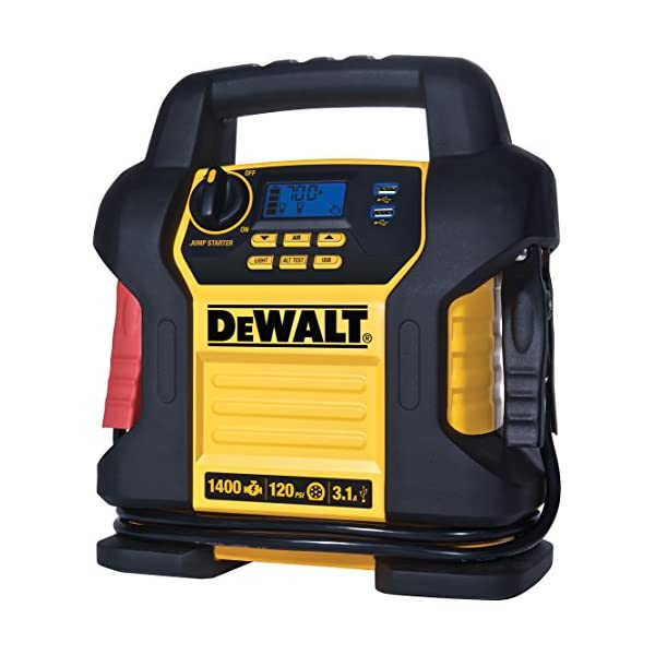 DEWALT DXAEJ14 Power Station Jump Starter: 1400 Peak/700 Instant Amps, 120 PSI Digital...