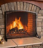 Arched Top Flat Guard Fireplace Screen, Small - Black